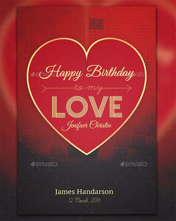 Love and Birthday Greetings Card Template