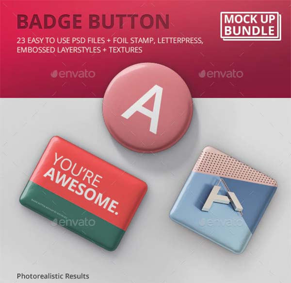 Name Badge Button Mockup Bundle