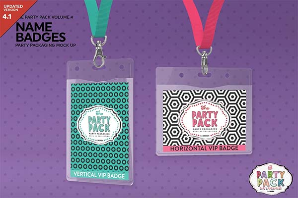 Name Badges With Lanyards Mockup