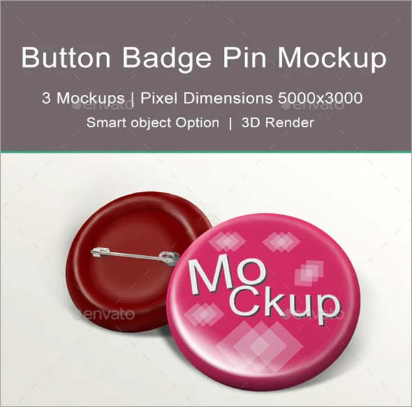 Name Button Badge Pin Mock-up