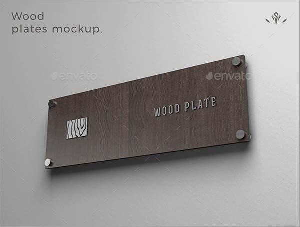 Name Wood Plate Mockup