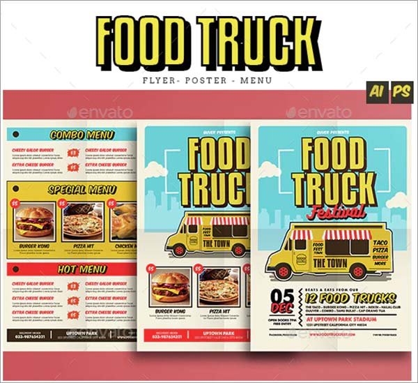 Pop Art Food Truck Flyer Template