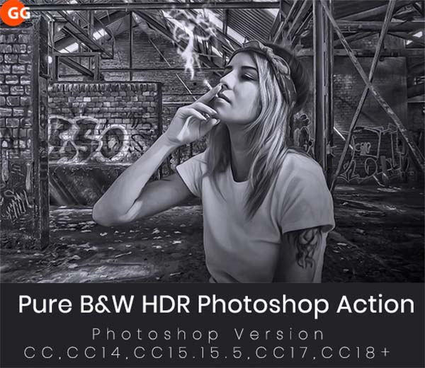 Pure B&W HDR Photoshop Action