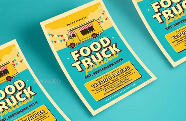 Retro Food Truck Event Flyer Template