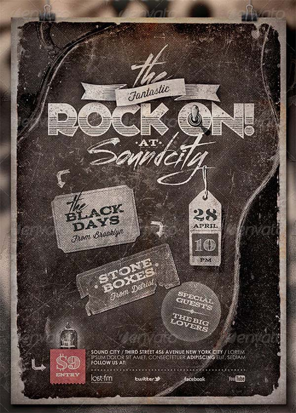 Rock On! Vintage Poster and Flyer Template