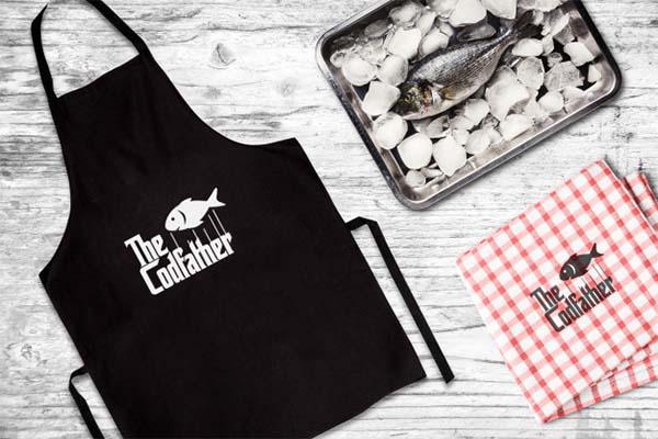 Seafood Restaurant Apron Mockup Free PSD