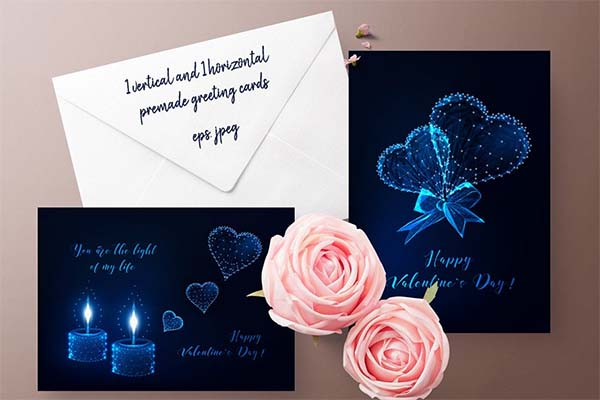 Shining Love Valentine Day Card Template