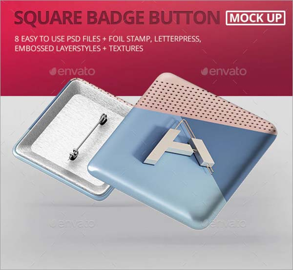 Square Name Badge Button Mockup