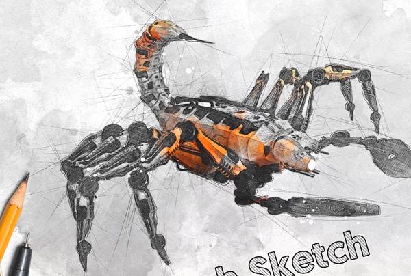 Tech Sketch Studio Photoshop Action