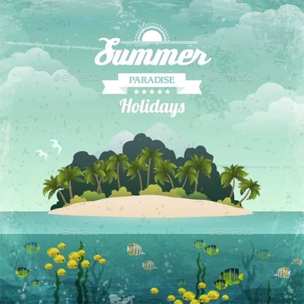 Tropical Island Vintage Poster Template