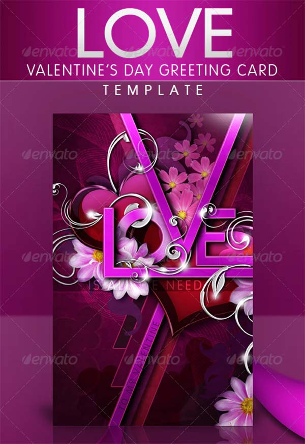 Valentine's Day Greeting Card PSD Template