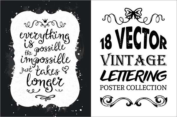 Vintage Lettering Poster Set