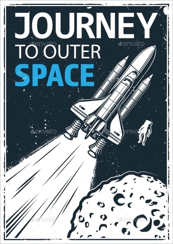 Vintage Poster with Shuttle Template