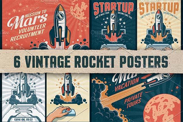 Rocket Vintage Poster Templates