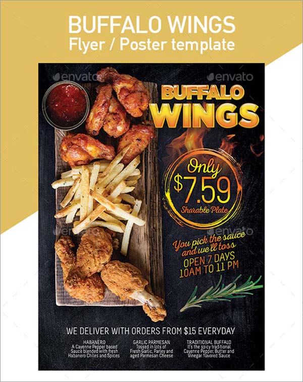 Wings Fast Food Flyer Templates
