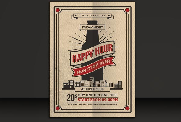 Beer Party Retro Flyer Template