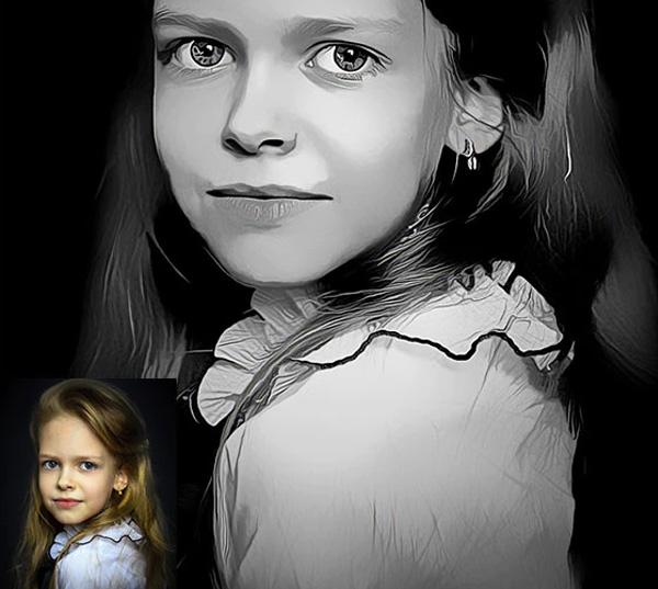 Black & White Paint Photoshop Action Template