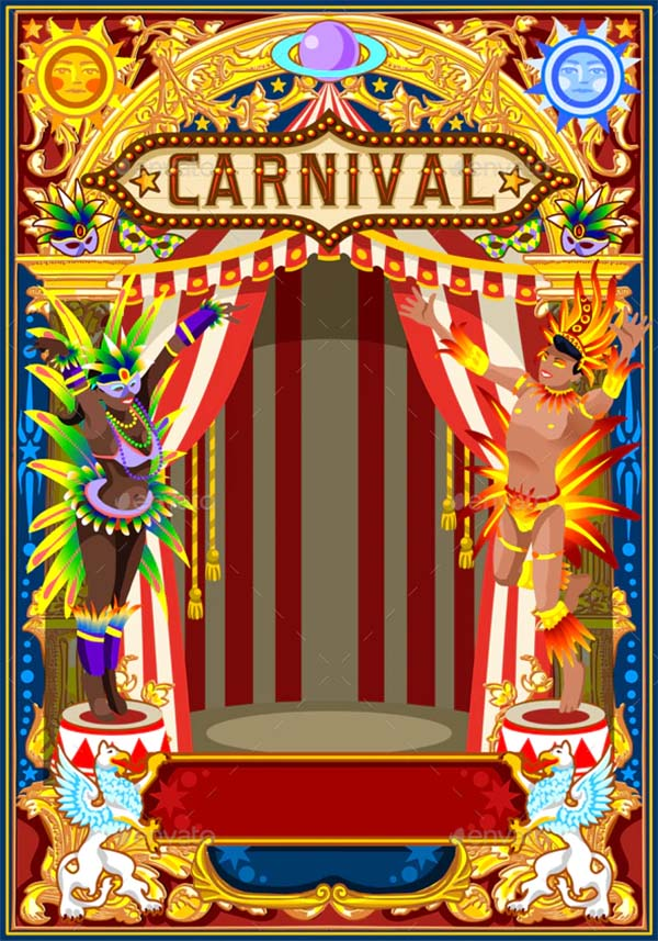 Carnival Poster for Mardi Gras Template