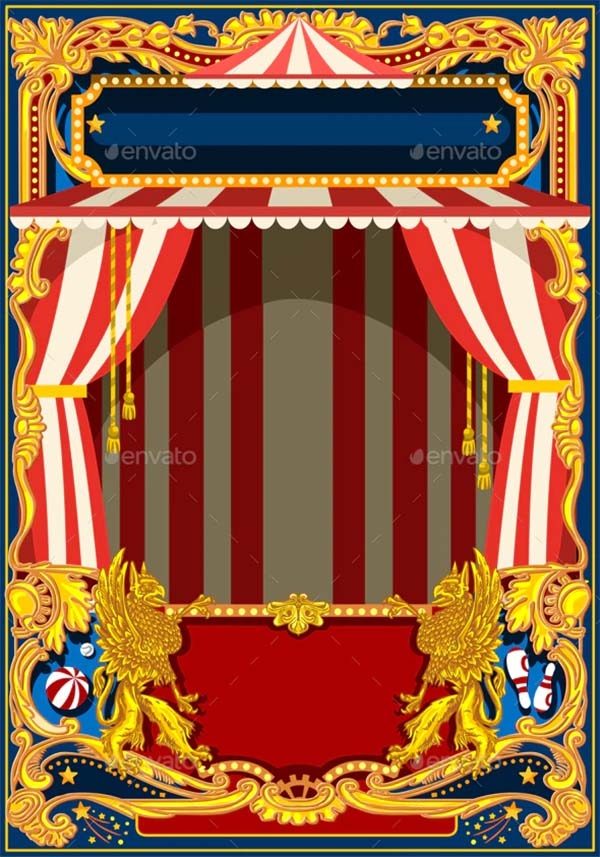 Carnival Poster with Circus Tent Template