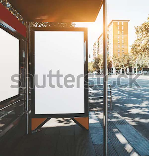 Empty Outdoor Bus Stop Mockups