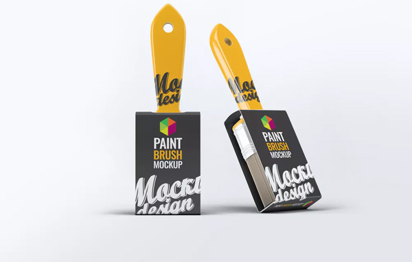 Free Paint Brush Mock-Up Template