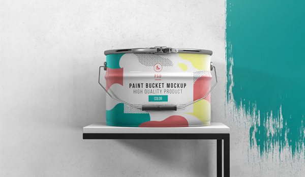 Free Paint Bucket Mockup Template
