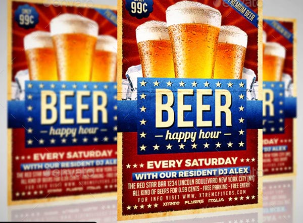 Happy Hour Beer Party Flyer Templates