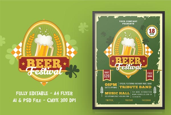 Modern Beer Party Flyer Template