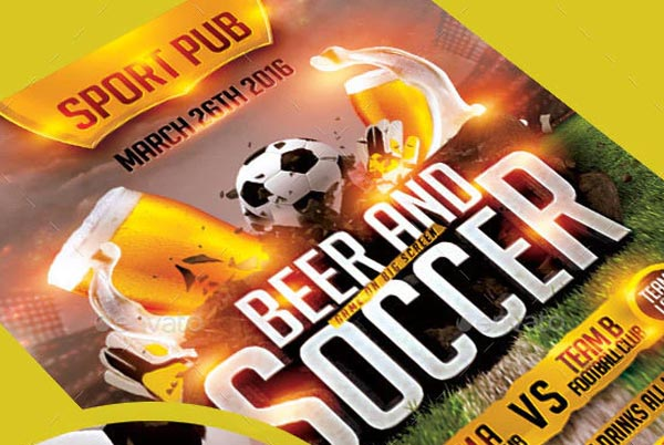 Soccer and Beer Party Flyer Template