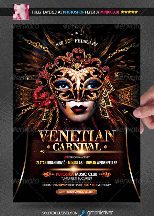 Venice Carnival Poster and Flyer