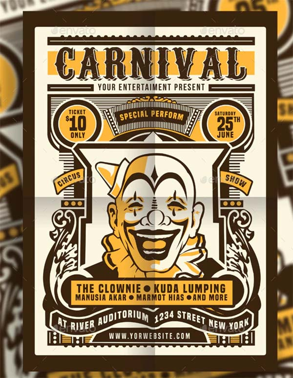 Vintage Circus Carnival Flyer & Poster Template